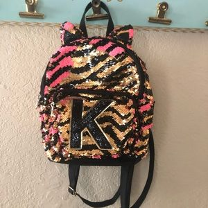 "Justice mini sequin ""K"" backpack"